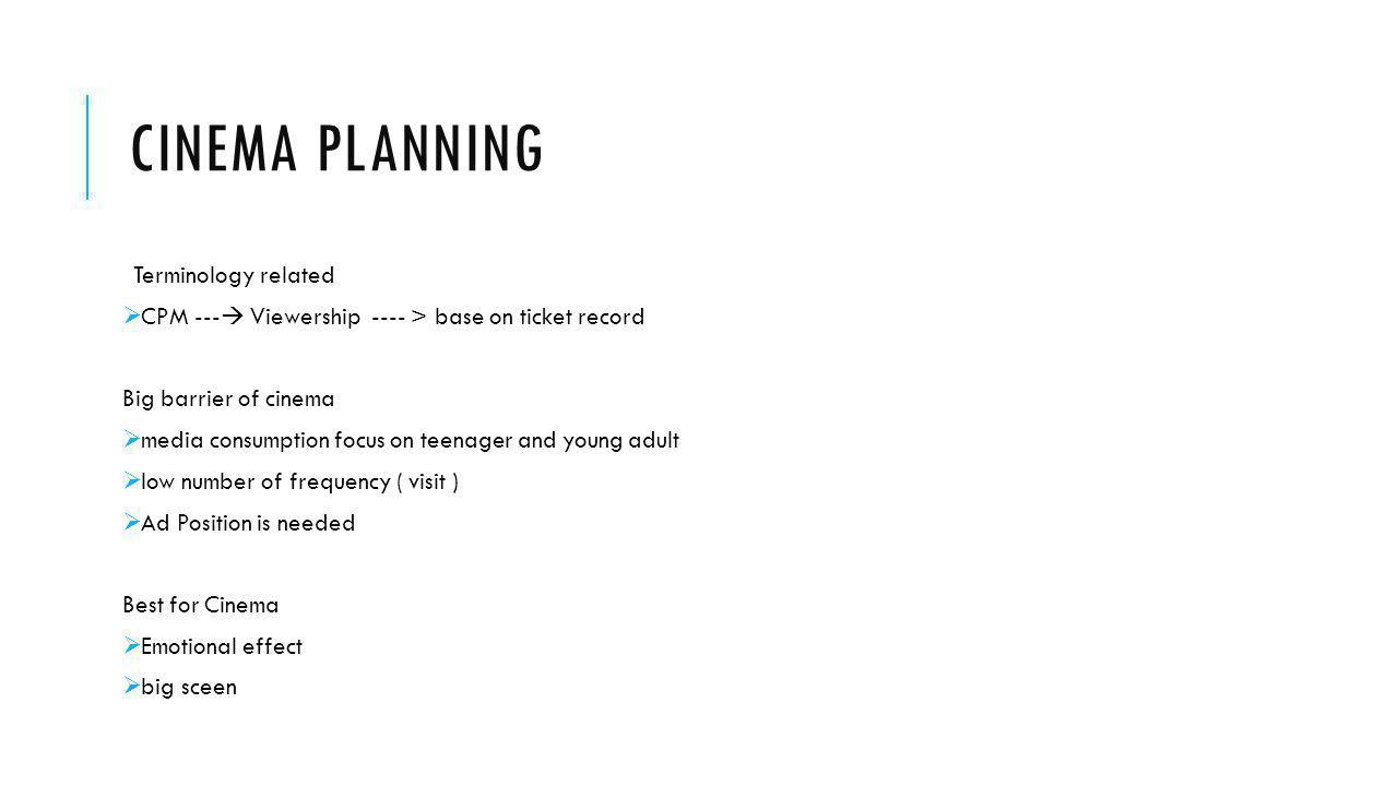Cinema planning Terminology related