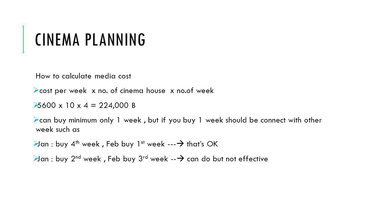 Cinema planning How to calculate media cost