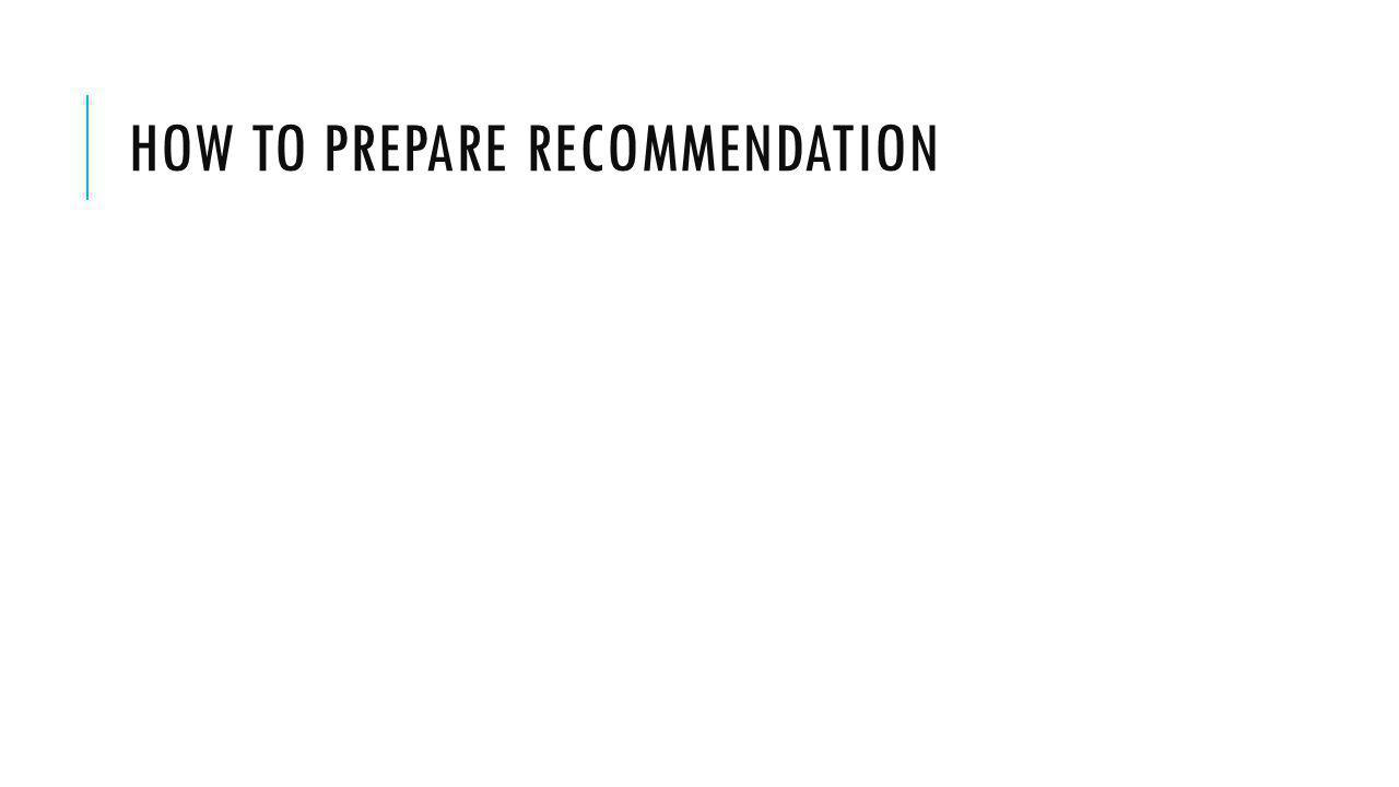 How to prepare recommendation