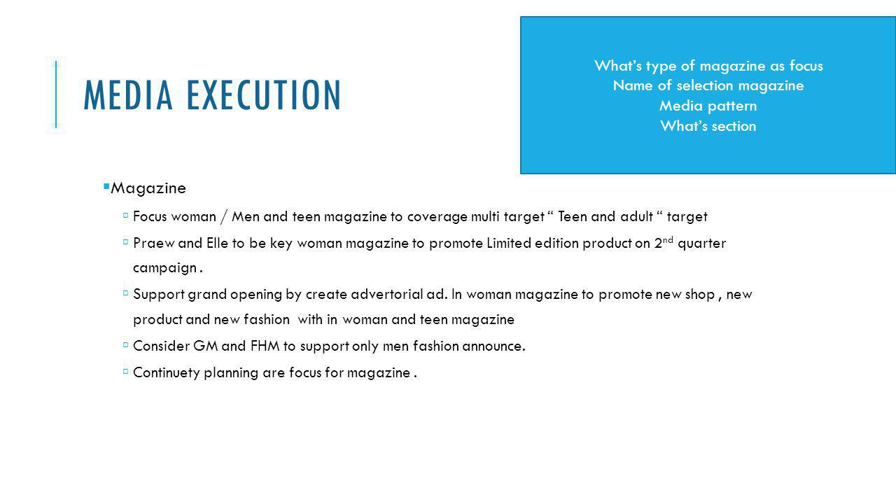 Media Execution Magazine What's type of magazine as focus