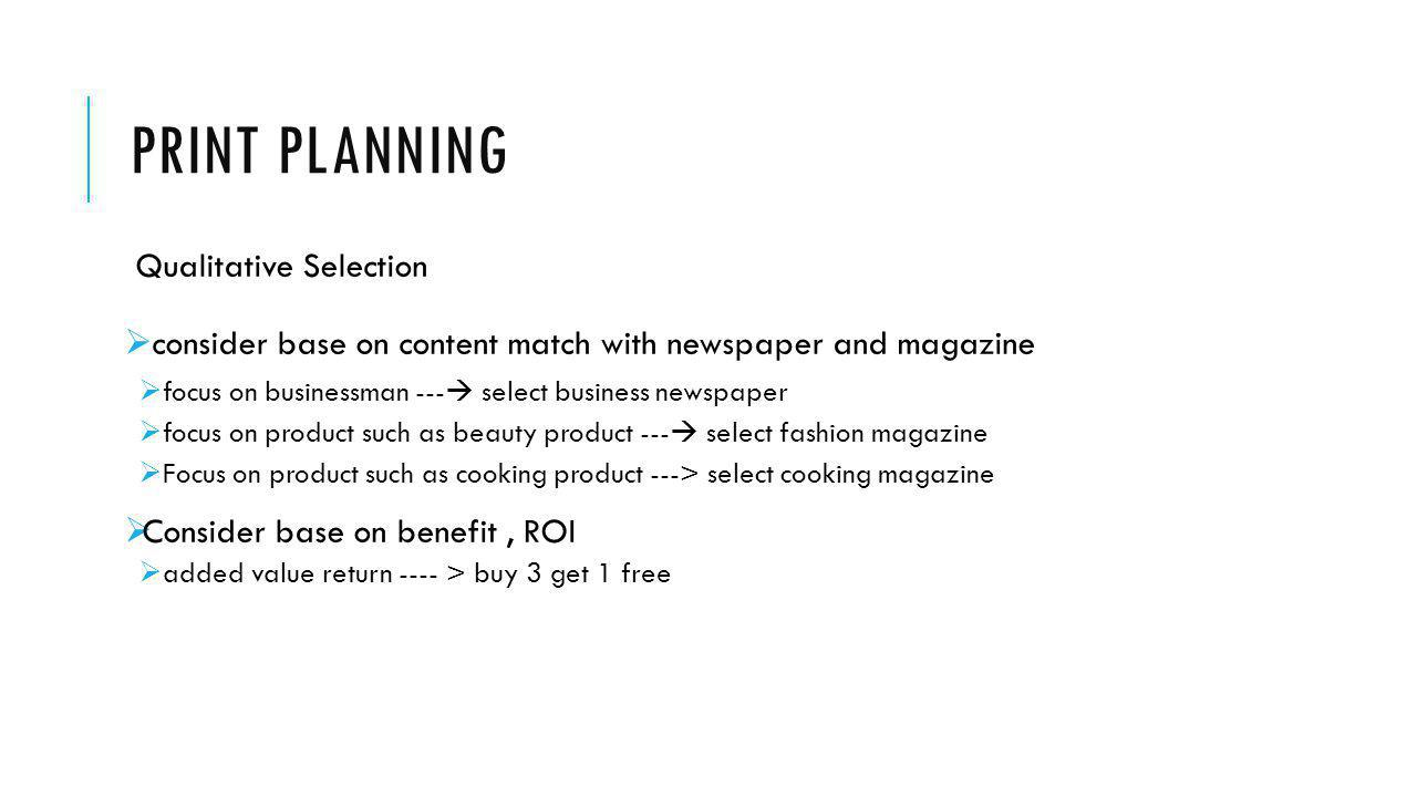 Print Planning Qualitative Selection