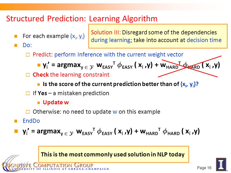 Structured Prediction: Learning Algorithm