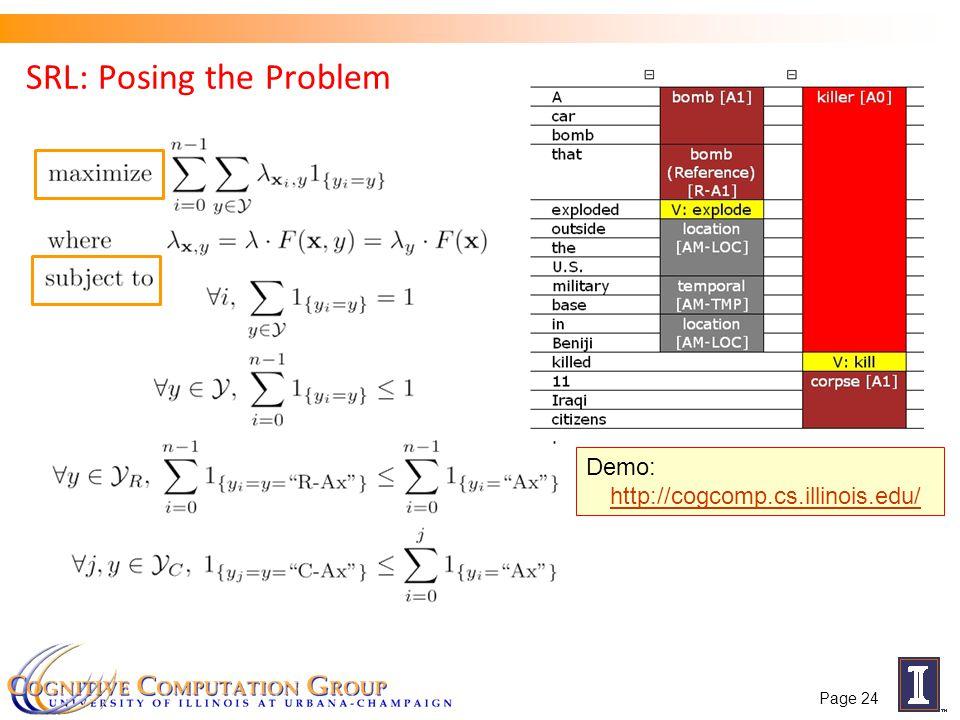SRL: Posing the Problem