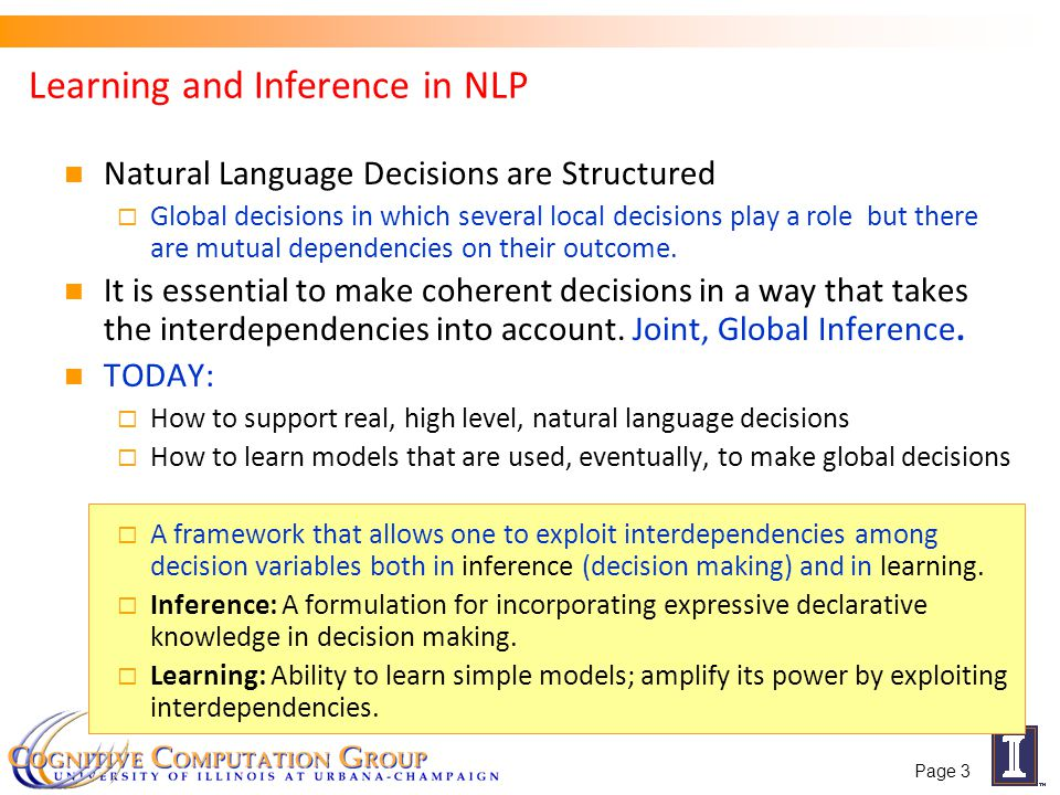 Learning and Inference in NLP