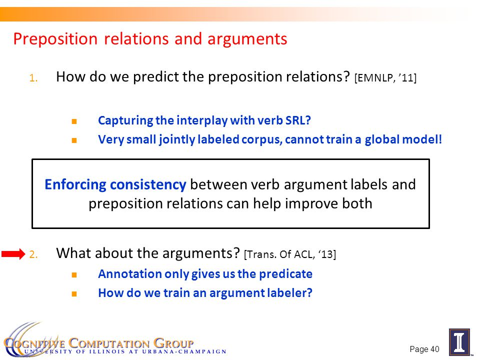 Preposition relations and arguments