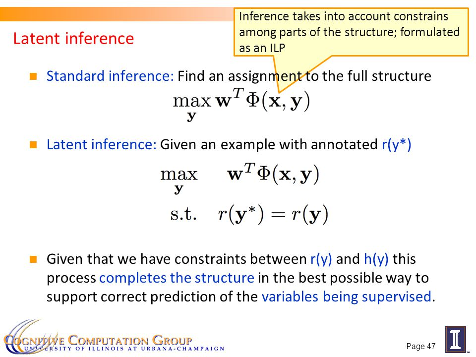 Inference takes into account constrains among parts of the structure; formulated as an ILP