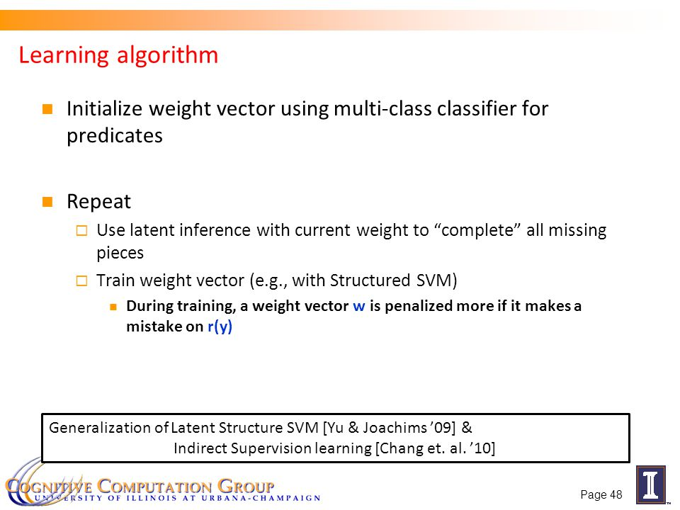 Learning algorithm Initialize weight vector using multi-class classifier for predicates. Repeat.