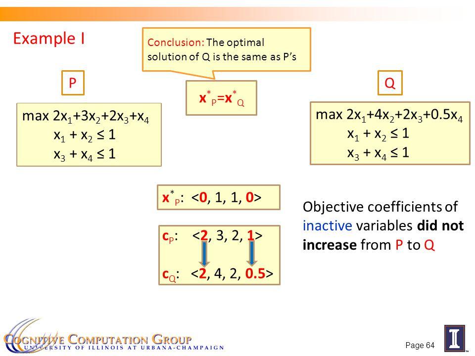 Example I P Q x*P=x*Q max 2x1+3x2+2x3+x4 x1 + x2 ≤ 1 x3 + x4 ≤ 1