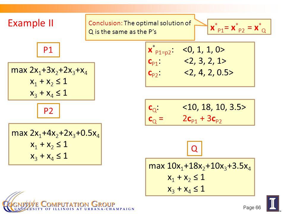 Example II x*P1= x*P2 = x*Q P1 x*P1=p2: <0, 1, 1, 0>