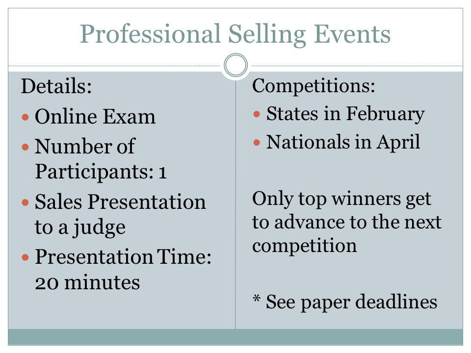 Professional Selling Events