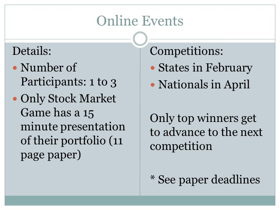 Online Events Details: Number of Participants: 1 to 3