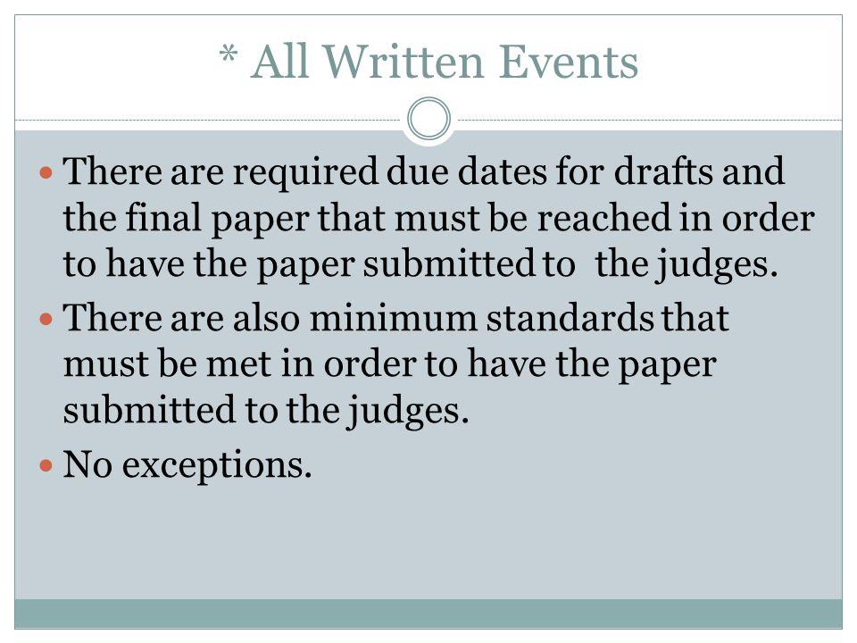 * All Written Events