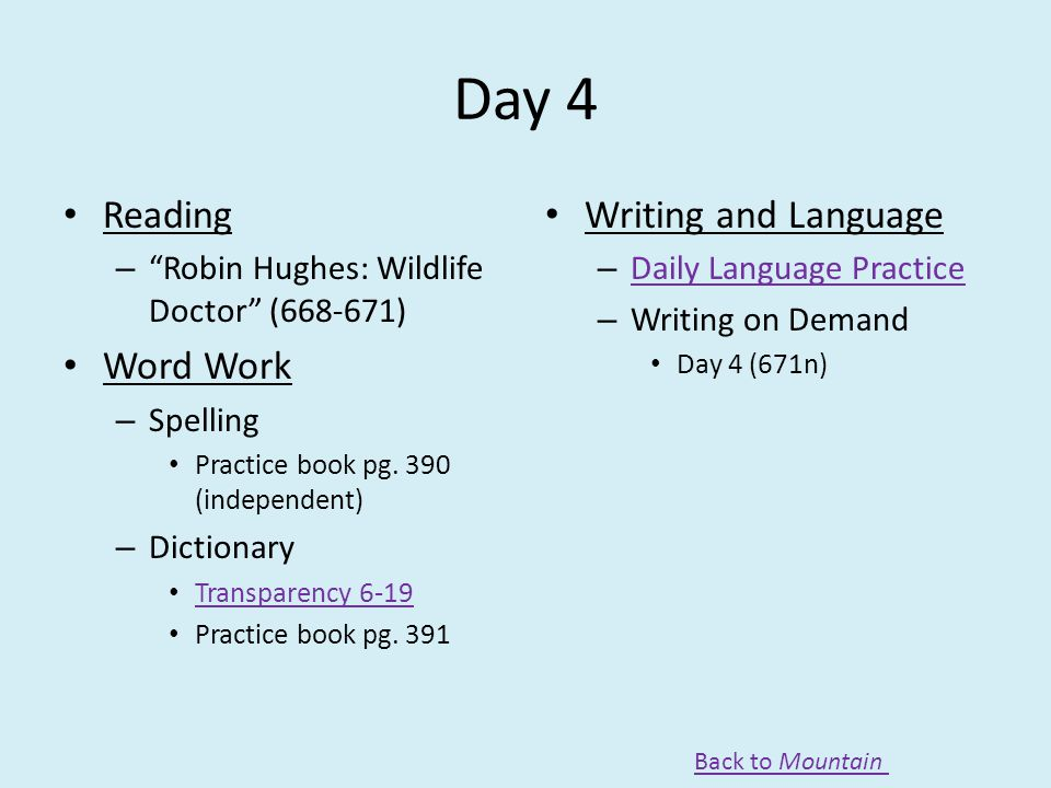 Day 4 Reading Word Work Writing and Language