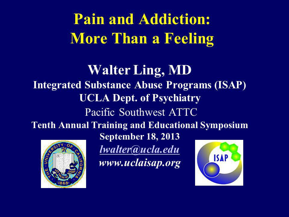 Pain and Addiction: More Than a Feeling