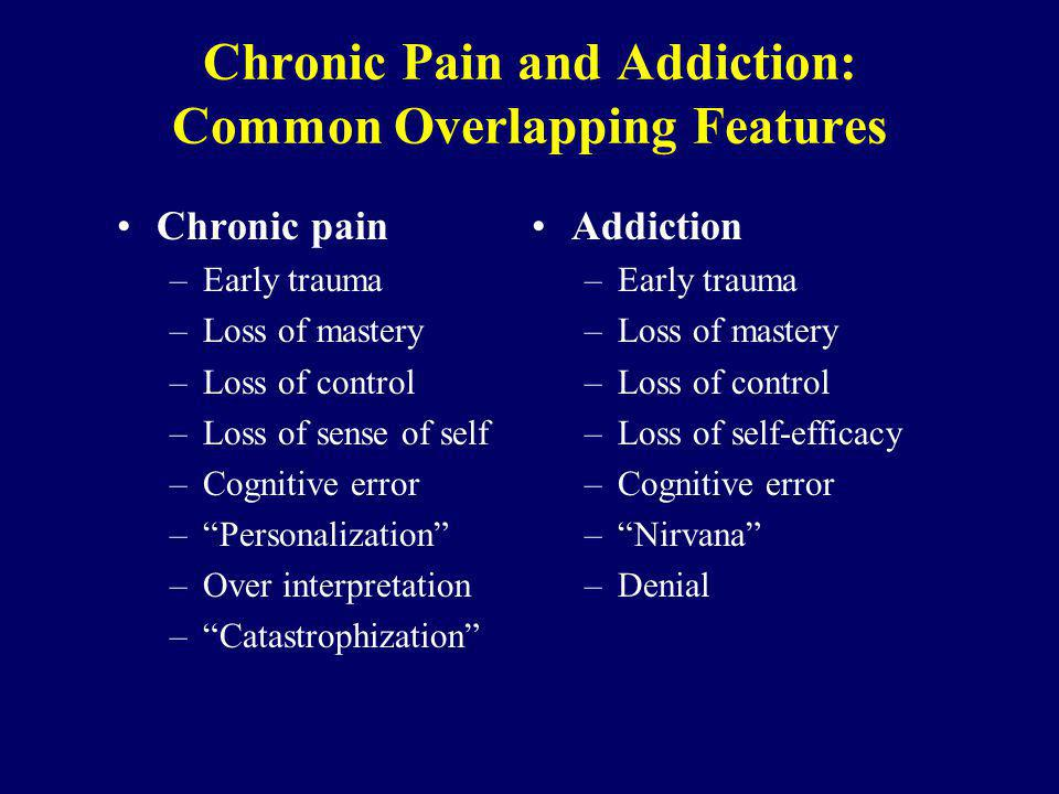 Chronic Pain and Addiction: Common Overlapping Features