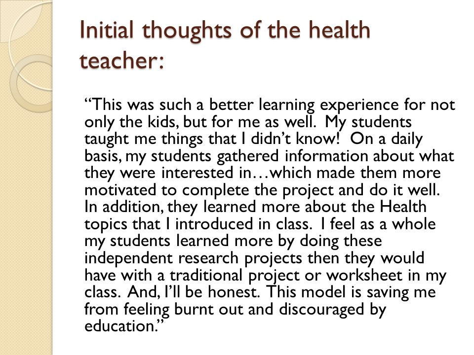 Initial thoughts of the health teacher: