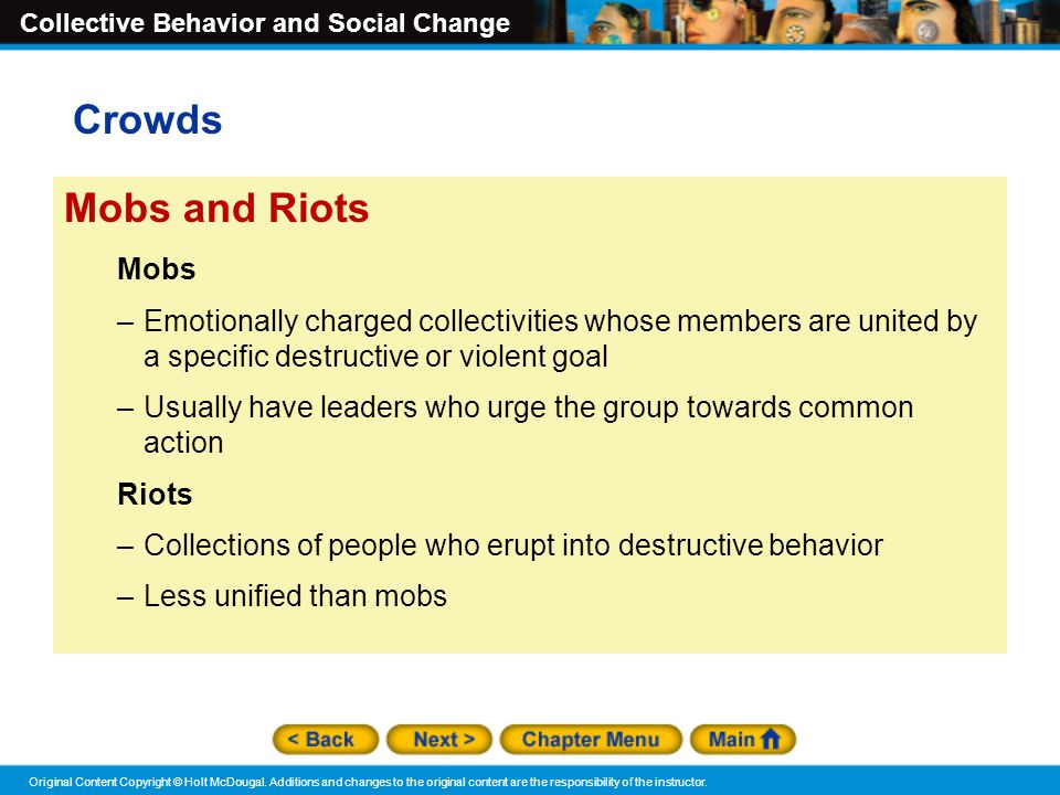 Crowds Mobs and Riots Mobs