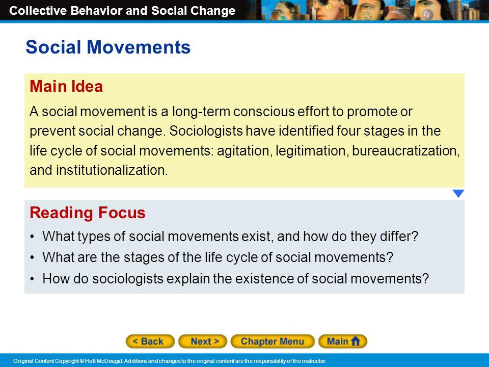 Social Movements Main Idea Reading Focus