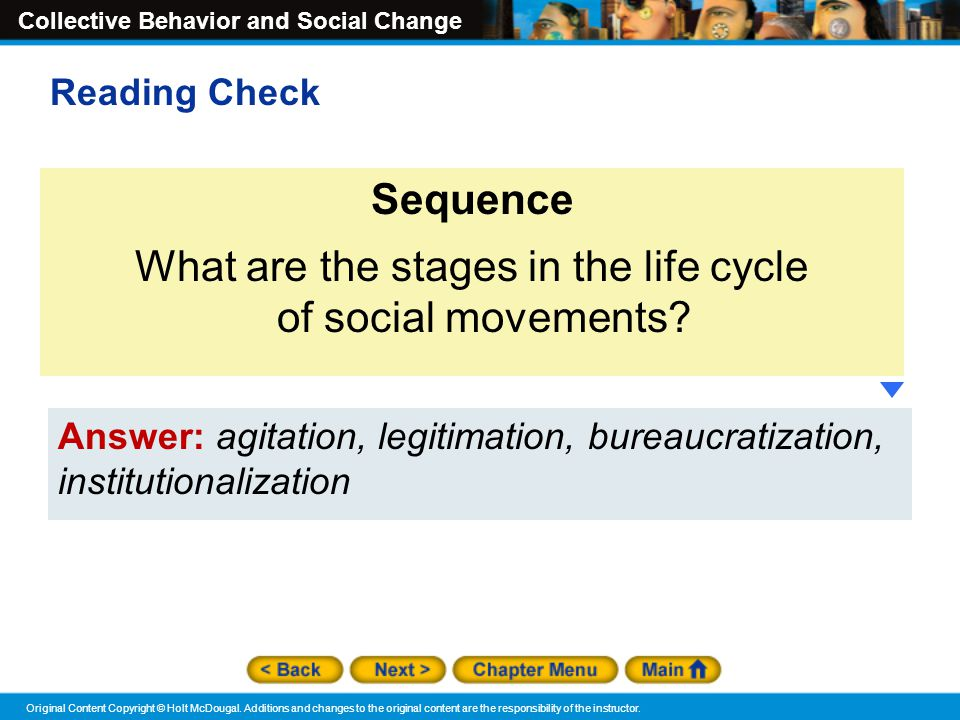 What are the stages in the life cycle of social movements