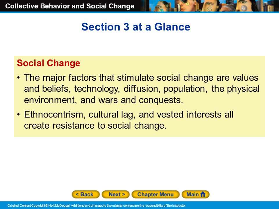Section 3 at a Glance Social Change