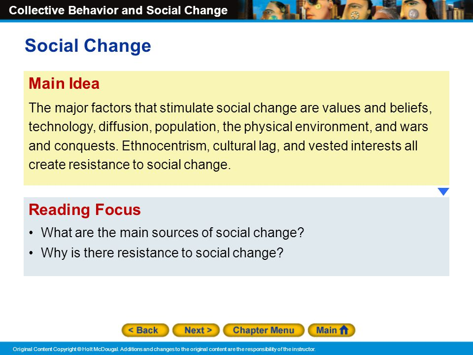 Social Change Main Idea Reading Focus