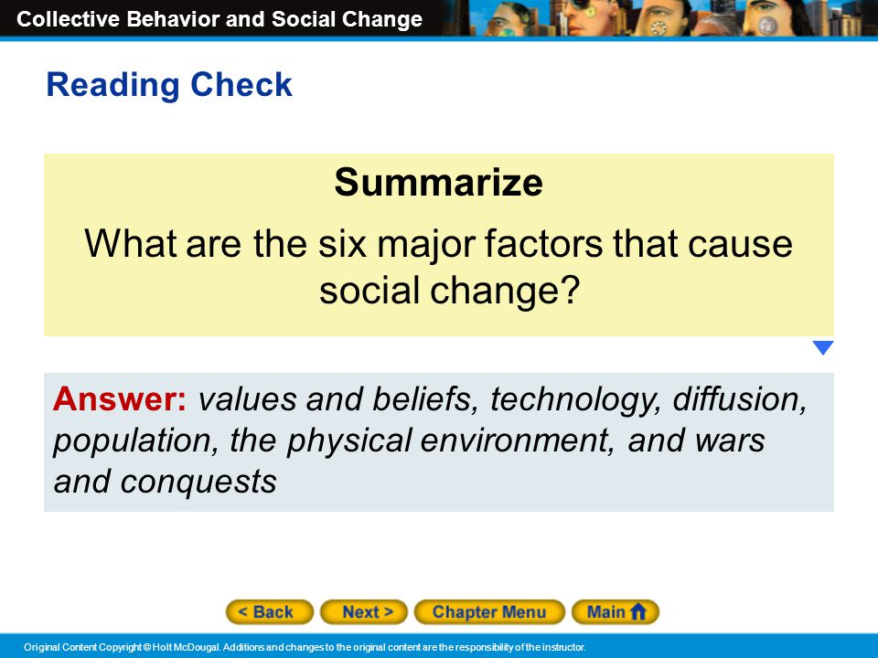 What are the six major factors that cause social change
