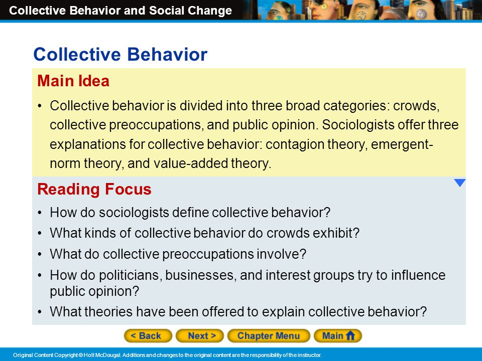 Collective Behavior Main Idea Reading Focus