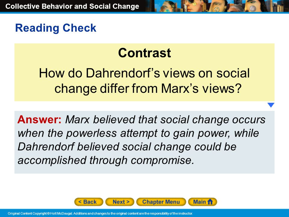 How do Dahrendorf's views on social change differ from Marx's views