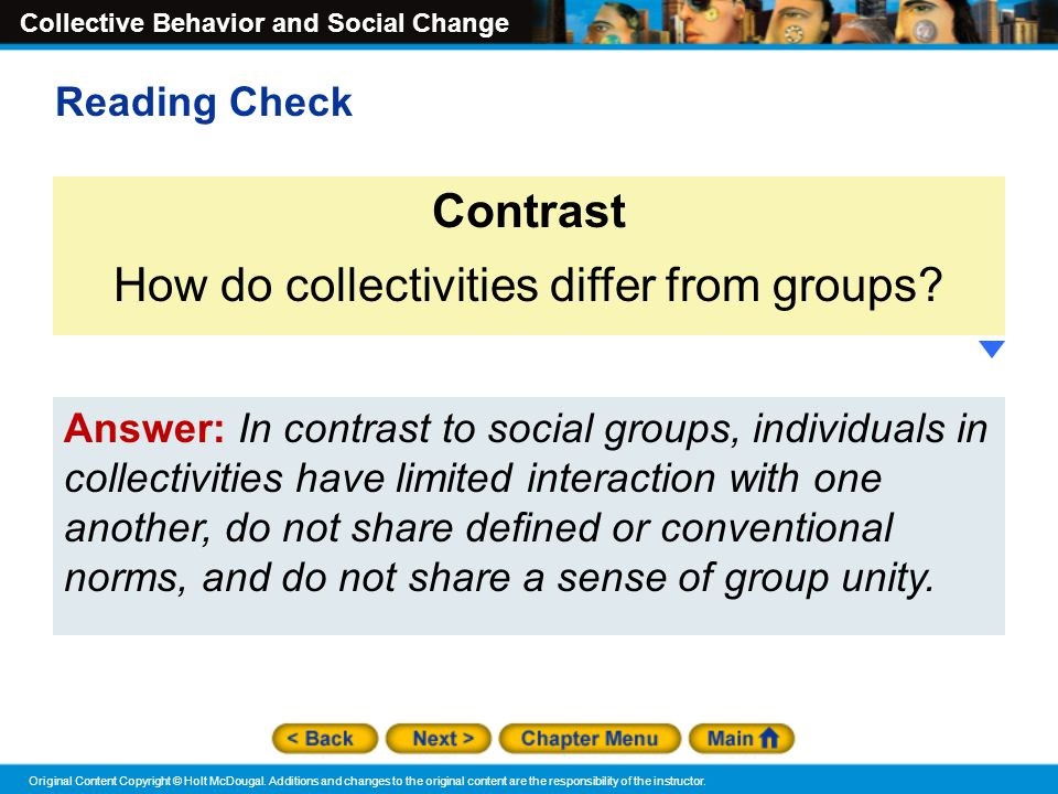 How do collectivities differ from groups