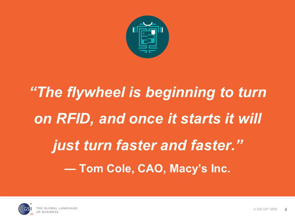 The flywheel is beginning to turn on RFID, and once it starts it will just turn faster and faster. — Tom Cole, CAO, Macy's Inc.