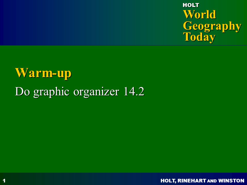 Warm-up Do graphic organizer 14.2