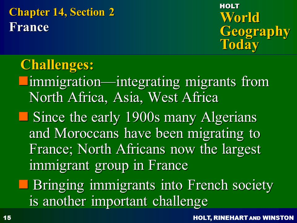 immigration—integrating migrants from North Africa, Asia, West Africa