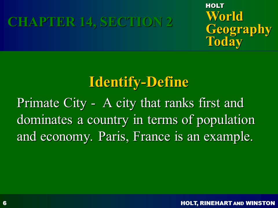 Identify-Define CHAPTER 14, SECTION 2