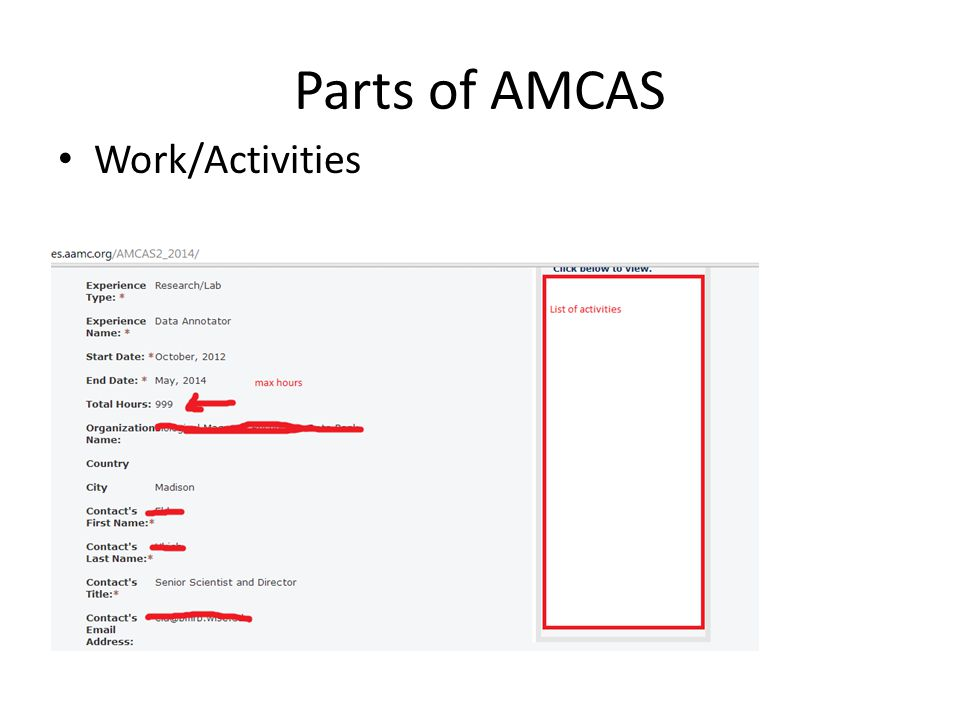 Parts of AMCAS Work/Activities