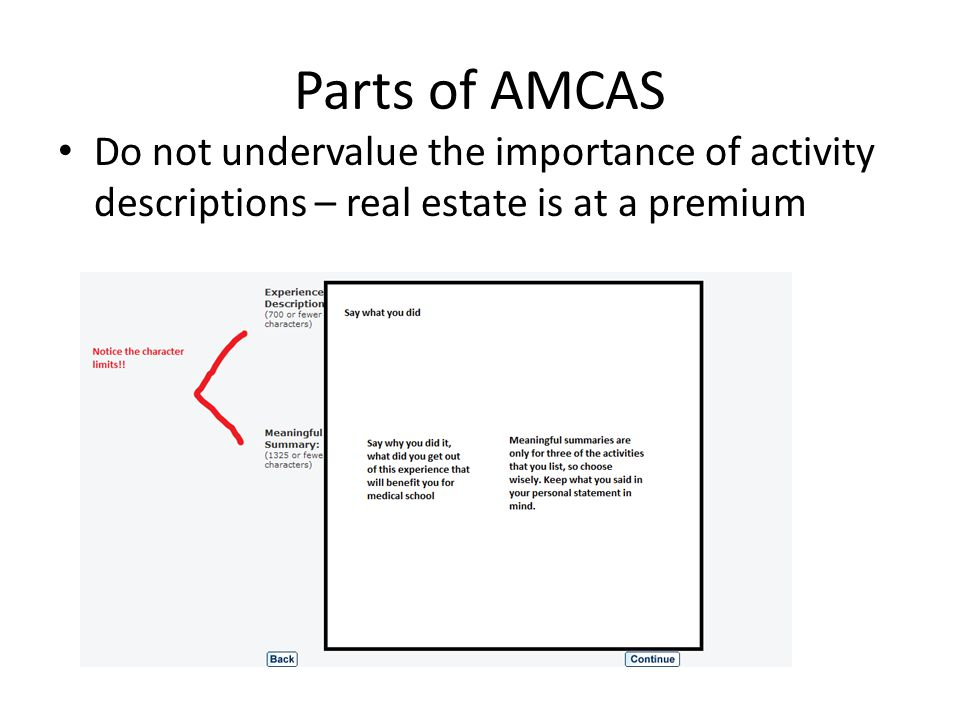 Parts of AMCAS Do not undervalue the importance of activity descriptions – real estate is at a premium.