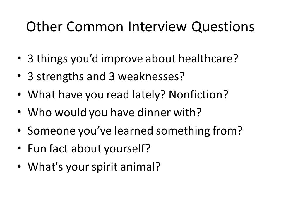 Other Common Interview Questions