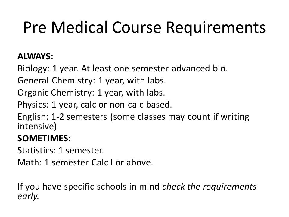 Pre Medical Course Requirements