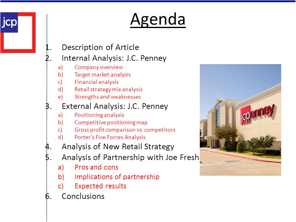 Agenda Description of Article Internal Analysis: J.C. Penney