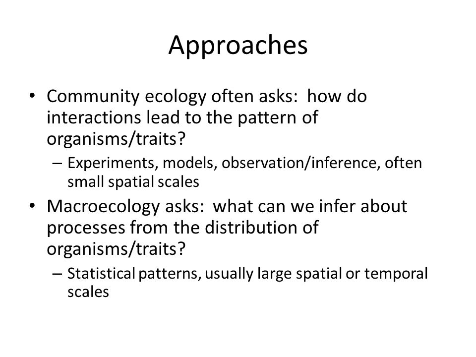 Approaches Community ecology often asks: how do interactions lead to the pattern of organisms/traits