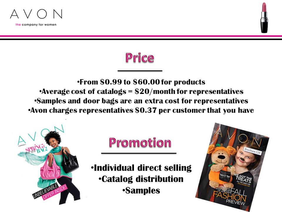 Price Promotion Individual direct selling Catalog distribution Samples