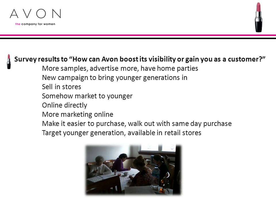 Survey results to How can Avon boost its visibility or gain you as a customer