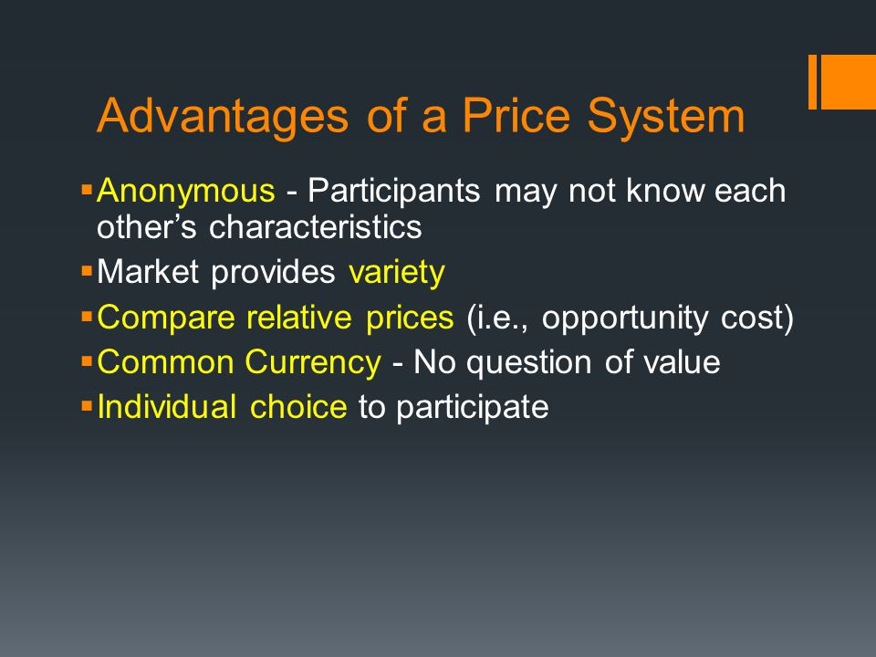 Advantages of a Price System