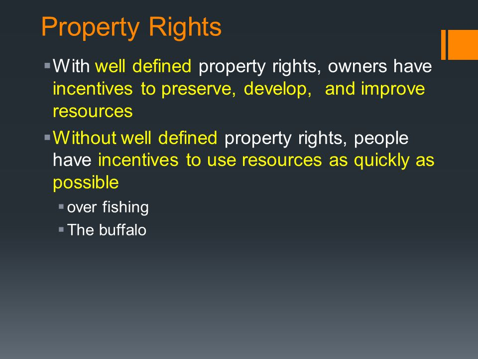 Property Rights With well defined property rights, owners have incentives to preserve, develop, and improve resources.