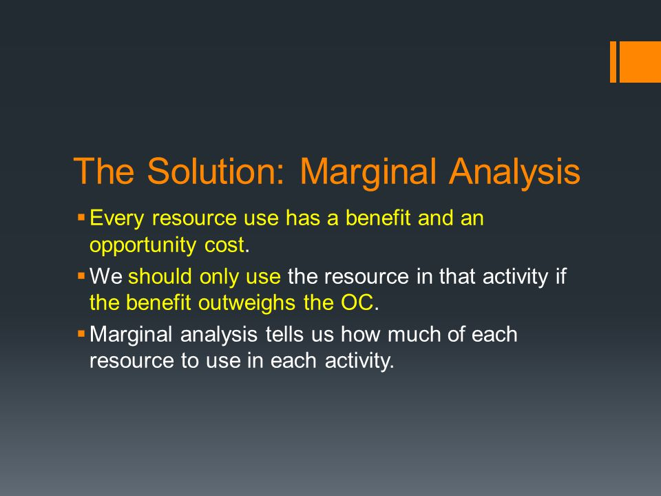 The Solution: Marginal Analysis