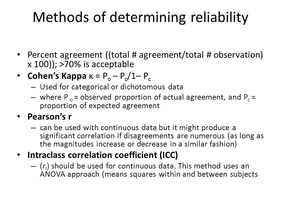 Methods of determining reliability