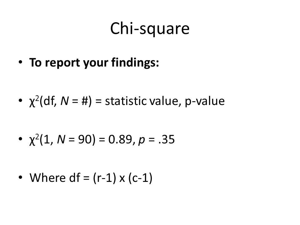 Chi-square To report your findings: