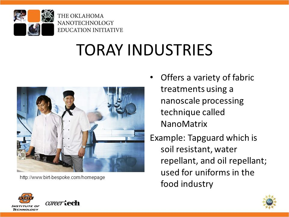 TORAY INDUSTRIES Offers a variety of fabric treatments using a nanoscale processing technique called NanoMatrix.