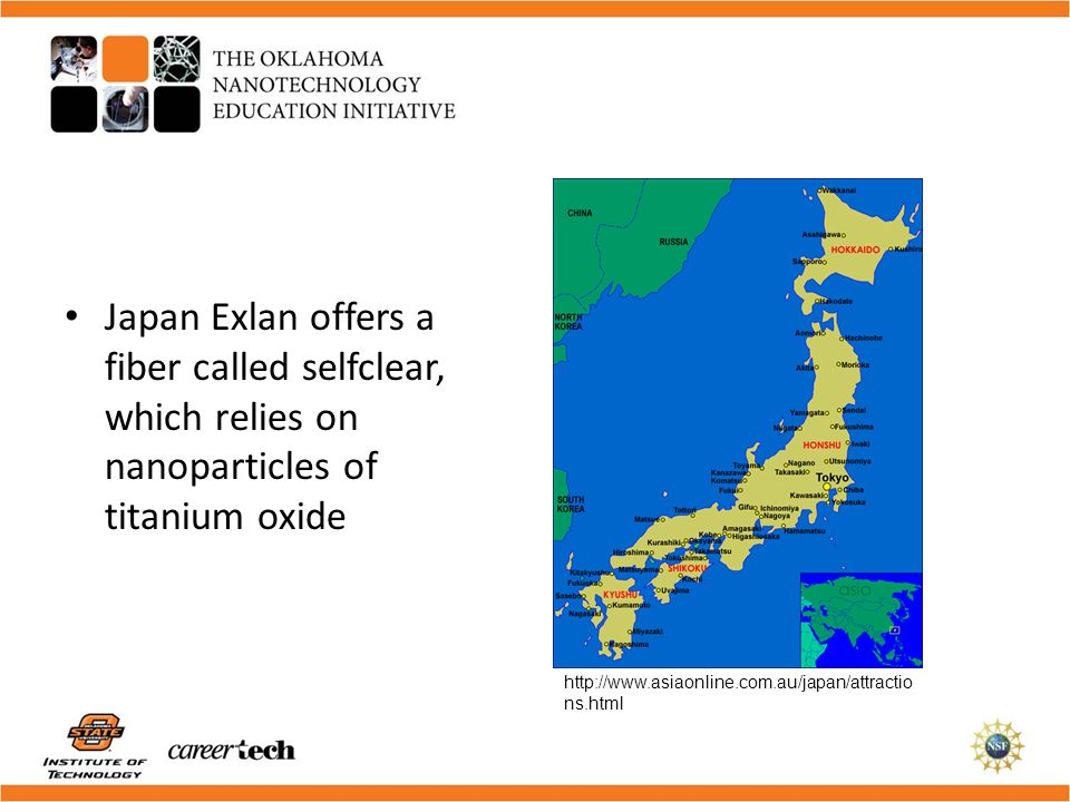 Japan Exlan offers a fiber called selfclear, which relies on nanoparticles of titanium oxide