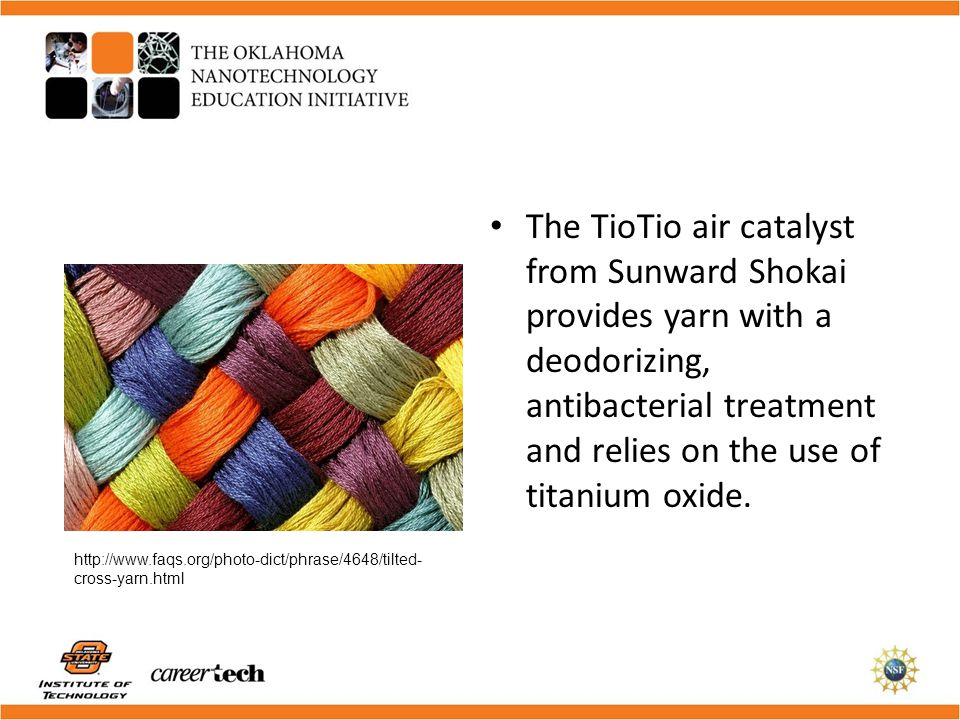 The TioTio air catalyst from Sunward Shokai provides yarn with a deodorizing, antibacterial treatment and relies on the use of titanium oxide.