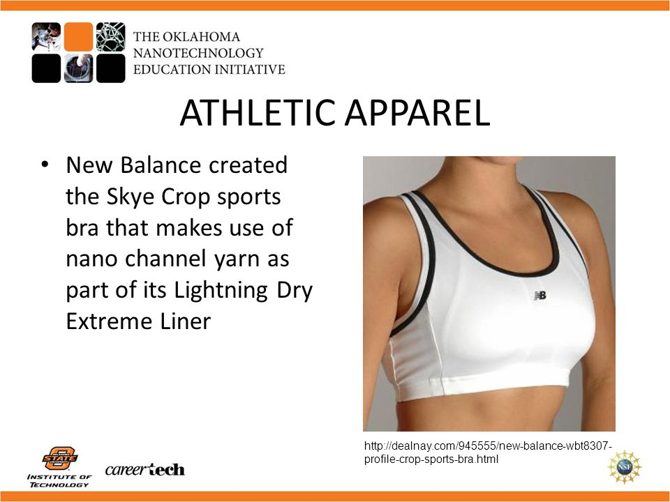 ATHLETIC APPAREL New Balance created the Skye Crop sports bra that makes use of nano channel yarn as part of its Lightning Dry Extreme Liner.